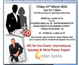 International Speaker and Mind Power Expert, Robin Banks, to MC at our Fundraiser: Vegas Nights, Events and More and The Hillcrest Quarry, Raising Funds in Support the NSRI